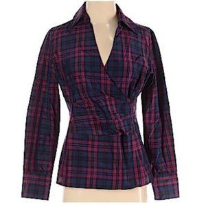 Talbots plaid silk blend blouse Sz 4P